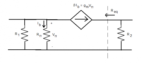 help finding equivalent resistance for bjt circuit